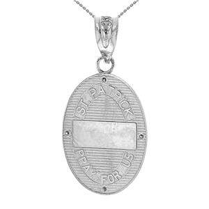 "Sterling Silver Saint Patrick CZ Oval Medallion Pendant Necklace 1.19"" (30 mm)"