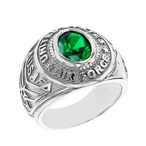 Sterling Silver United States Air Force Men's CZ Birthstone Ring