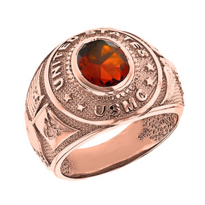 Solid Rose Gold United States Marine Corps Men's CZ Birthstone Ring