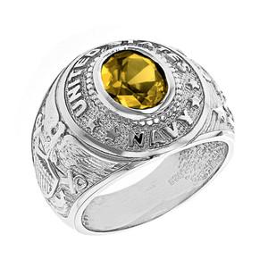 Solid White Gold United States Navy Men's CZ Birthstone Ring