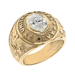 Solid Yellow Gold United States Navy Men's CZ Birthstone Ring