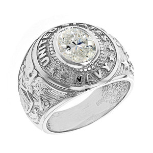 Sterling Silver United States Navy Men's CZ Birthstone Ring