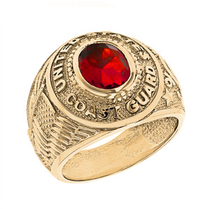 Solid Yellow Gold United States Coast Guard Men's CZ Birthstone Ring