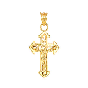 Yellow Gold Dainty Fitchee Cross Pendant Necklace
