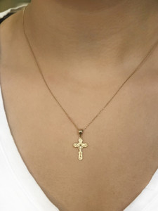 Yellow Gold Dainty Floral Crucifix Pendant Necklace