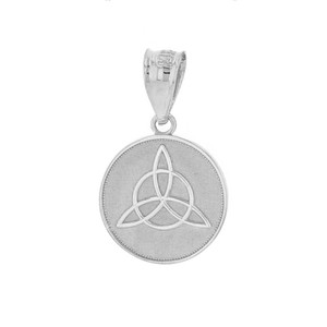 Solid White Gold Triquetra Irish Celtic Disc Circle Pendant Necklace