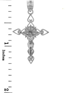 White Gold Crucifix Pendant - The Good Shepherd Crucifix