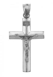 White Gold Line Crucifix Pendant