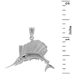 Sterling Silver Marlin Swordfish Pendant Necklace