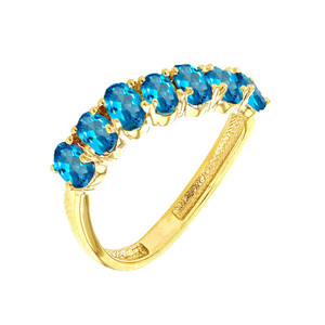 Yellow Gold Wavy Stackable Blue Topaz Ring