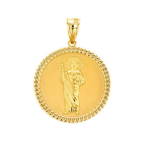 "Solid Yellow Gold Jesus The Good Shepherd Cuban Link Circle Frame Medallion Pendant Necklace 1.34 "" (34 mm)"