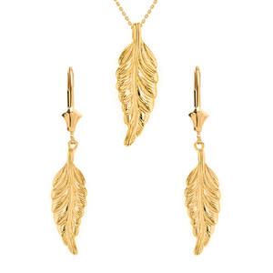 14K Solid Yellow Gold Bohemia Boho Feather Pendant Earring Set