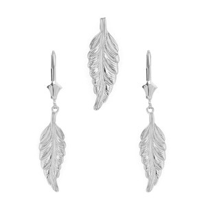 14K Solid White Gold Bohemia Boho Feather Pendant Earring Set