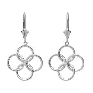 14K Solid White Gold Lucky Quatrefoil Four Circle Petals Drop Earring Set