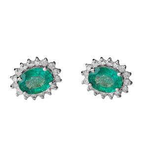 Diamond and Lab Created Emerald White Gold Studs