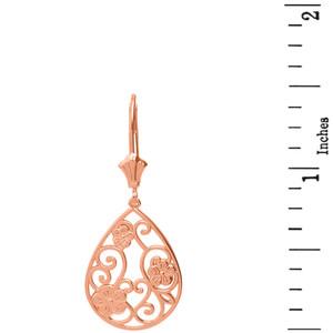 14K Solid Rose Gold Filigree Teardrop Floral Drop Earring Set