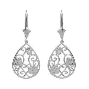 14K Solid White Gold Filigree Teardrop Floral Drop Earring Set