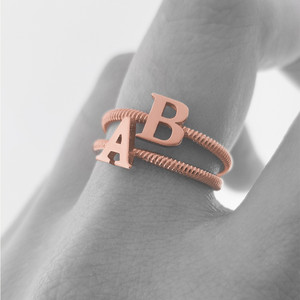 Solid Rose Gold Alphabet Initial Letter U  Stackable Ring