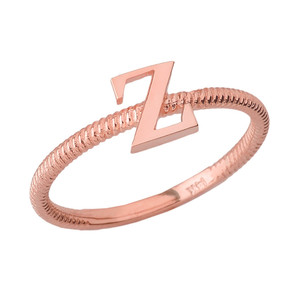 Solid Rose Gold Alphabet Initial Letter Z Stackable Ring