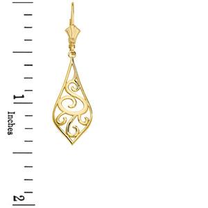 "Solid Yellow Gold Teardrop Filigree Tribal  Drop Earring Set 1.42"" (36mm)"