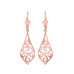 "14K Solid Rose Gold Teardrop Filigree Tribal  Drop Earring Set 1.42"" (36mm)"