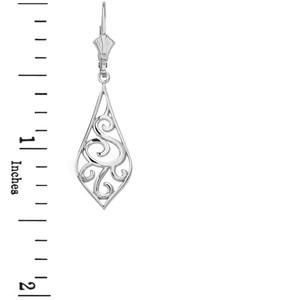 """14K Solid White Gold Teardrop Filigree Tribal  Drop Earring Set 1.42"""" (36mm)"""