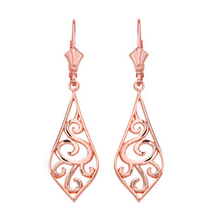 "14K Solid Rose Gold Teardrop Filigree Tribal  Drop Earring Set 1.67"" (42 mm)"