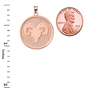 Rose Gold Aries Zodiac Disc Pendant Necklace