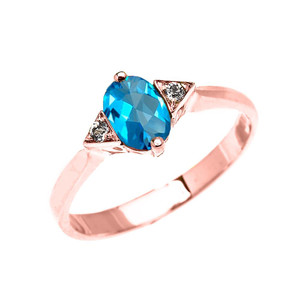 Rose Gold Solitaire Oval Genuine Blue Topaz and White Topaz Engagement/Promise Ring