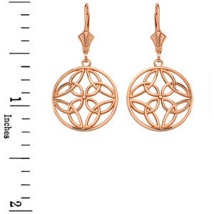 14K Solid Rose Gold Triquetra Trinity Celtic Knot Circle Drop Earring Set  (Small)