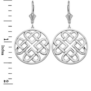14K Solid White Gold Woven Celtic Hearts Circle Drop Earring Set  (Large)