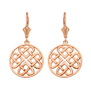 14K Solid Rose Gold Woven Celtic Hearts Circle Drop Earring Set  (Small)