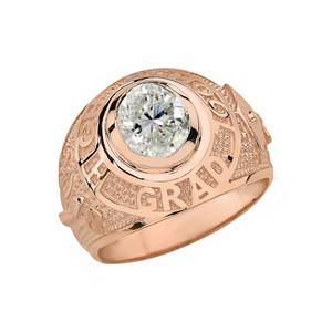 Solid Rose Gold High School Graduation Class of 2018 CZ Birthstone Ring