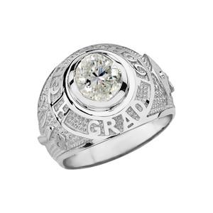 Solid White Gold High School Graduation Class of 2018 CZ Birthstone Ring