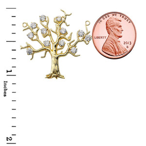 14K Yellow Gold Tree Necklace
