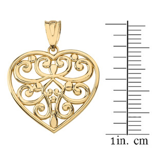 14k Solid Yellow Gold Filigree Heart Necklace Earring Set