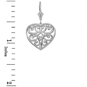 14k Solid White Gold Filigree Heart Necklace Earring Set