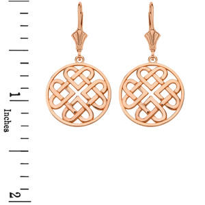 14k Solid Rose Gold Woven Celtic Hearts Circle Necklace Earring Set