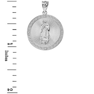 Our Lady of Guadalupe Engravable Circle Medallion Diamond Pendant Necklace (Large) in Solid Gold (Yellow/Rose/White)