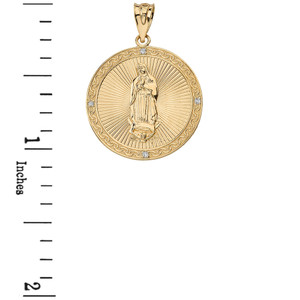 Solid Yellow Gold Our Lady of Guadalupe Engravable Circle Medallion Diamond Pendant Necklace (Large)