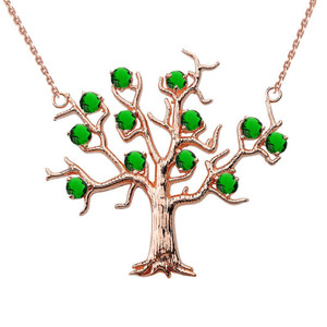 14K Rose Gold Emerald (LCE) Tree Necklace