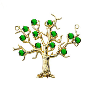 14K Yellow Gold Emerald (LCE) Tree Necklace