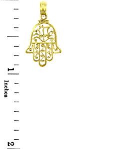 Jewish Charms and Pendants - Hamsa 14K Yellow Gold Charm