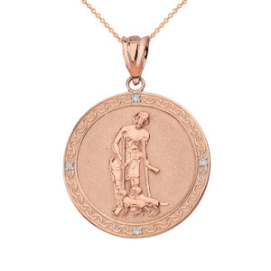 Saint Lazarus Engravable Circle Medallion Diamond Pendant Necklace (Small) in Solid Gold (Yellow/Rose/White)