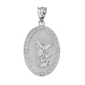 Archangel Michael Oval Medallion Diamond Prayer Pendant Necklace (Large) in Solid Gold (Yellow/Rose/White)