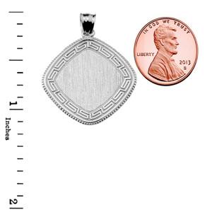 Greek Key White Gold Engravable Charm Pendant