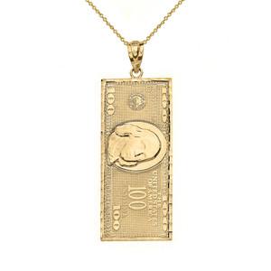 Benjamin Franklin United States American Hundred Dollar Bill  Pendant Necklace (Medium) in Solid Gold