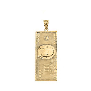 Benjamin Franklin United States American Hundred Dollar Bill  Pendant Necklace (Small) in Solid Gold