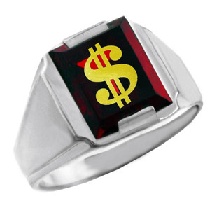Sterling Silver Red CZ Stone Dollar Sign Signet Men's Ring