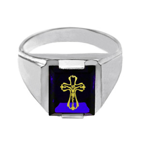 Sterling Silver Blue CZ Stone Crucifix Signet Men's Ring